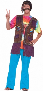 60s Style: How to Recreate the Outfits Mens Hippie Peace Vest $28.99 AT vintagedancer.com