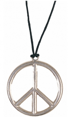 60s Costumes: Hippie, Go Go Dancer, Flower Child Metal Peace Necklace $5.39 AT vintagedancer.com