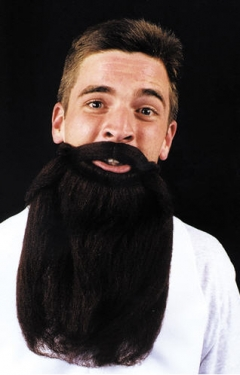 "Mustache & Beard 14 inches Transform your face Adult size mustache with attached beard. Appropriate whenever a long beard is needed. Can be easily worn using attached elastic, which is to be worn behind the ears. Beard is approx 14"" long. 100% nylon. Flame proof. Available in: Black Brown Grey"