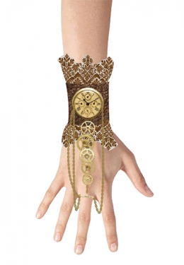 Steampunk Jewelry – Necklace, Earrings, Cuffs, Hair Clips Lace Wristlet Clock Charm Gear $16.79 AT vintagedancer.com