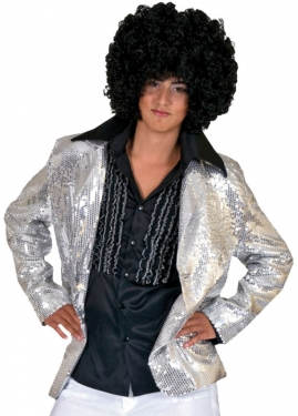 60s Style: How to Recreate the Outfits Mens Silver Disco Jacket $81.97 AT vintagedancer.com
