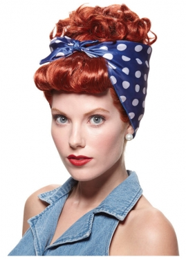 Vintage Hair Accessories: Combs, Headbands, Flowers, Scarf, Wigs Red Riveter Wig $24.49 AT vintagedancer.com