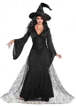 Victorian Costumes: Dresses, Saloon Girls, Southern Belle, Witch Womens Witch Costume $57.99 AT vintagedancer.com