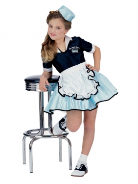 Vintage Style Children's Clothing: Girls, Boys, Baby, Toddler Girls Car Hop Costume $38.99 AT vintagedancer.com