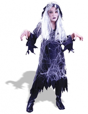 Vintage Style Children's Clothing: Girls, Boys, Baby, Toddler Girls Spiderweb Ghost Costume $28.99 AT vintagedancer.com