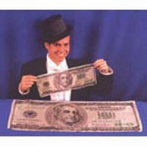 "$100 Bill 18"" x 12"" Silk A great comedy magic prop Includes a one hundred dollar bill stage size silk that looks like American Money. measures 18 inches by 12 inches Also Available In: 36 inches by 14 inches Great for sewing into your tux for a good laugh"