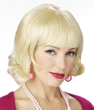 Vintage Hair Accessories: Combs, Headbands, Flowers, Scarf, Wigs Blonde Flip Wig $16.99 AT vintagedancer.com