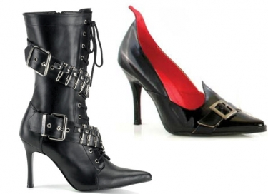 Steampunk Dresses | Women & Girl Costumes Witch Shoes or Militant Boots $73.97 AT vintagedancer.com