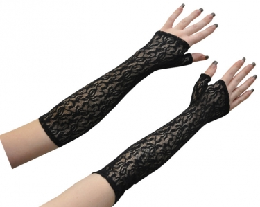 Vintage Style Gloves- Long, Wrist, Evening, Day, Leather, Lace Lace Fingerless Gloves $17.99 AT vintagedancer.com