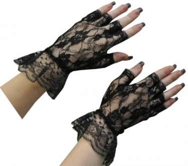 Vintage Style Gloves- Long, Wrist, Evening, Day, Leather, Lace Black Fingerless Gloves $13.09 AT vintagedancer.com