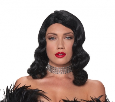 Vintage Hair Accessories: Combs, Headbands, Flowers, Scarf, Wigs Femme Fatale Black Wig $24.39 AT vintagedancer.com